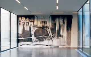 Μαρκ Μπάουερ, Der Sammler – Nachbilder, 2014. Τοιχογραφία, κάρβουνο, μεταβλητές διαστάσεις.