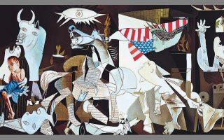 «Παραλλαγή της Guernica σε σχέση με τον πόλεμο των ΗΠΑ στο Ιράκ», 2003, λάδι σε καμβά (λεπτομέρεια).  Εργο του Δημοσθένη Σκουλάκη, τα 50 χρόνιαδημιουργίας του οποίου τιμά το Μουσείο Μπενάκη με μία αναδρομική έκθεση από όλο το φάσμα της δουλειάς του.Διάρκεια: 28 Φεβρουαρίου έως5 Μαΐου.