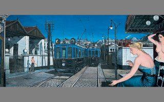 «Το γαλάζιο τρένο», πίνακαςτου Πολ Ντελβό (λεπτομέρεια).Απεικονίσεις ζωγραφικέςθα μπορούσαν να χαρακτηριστούν οι ιστορίες της Σταυρούλας Δημητρίου.