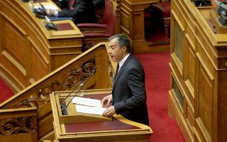Ο επικεφαλής του Ποταμιού Σταύρος Θεοδωράκης μιλά στη συζήτηση στην Ολομέλεια της Βουλής με θέμα: Κύρωση της Τελικής Συμφωνίας για την Επίλυση των Διαφορών οι οποίες περιγράφονται στις Αποφάσεις του Συμβουλίου Ασφαλείας των Ηνωμένων Εθνών 817 (1993) και 845 (1993), τη Λήξη της Ενδιάμεσης Συμφωνίας του 1995 και την Εδραίωση Στρατηγικής Εταιρικής Σχέσης μεταξύ των Μερώv, Πέμπτη 24 Ιανουαρίου 2019. ΑΠΕ-ΜΠΕ/ΑΠΕ-ΜΠΕ/Αλέξανδρος Μπελτές