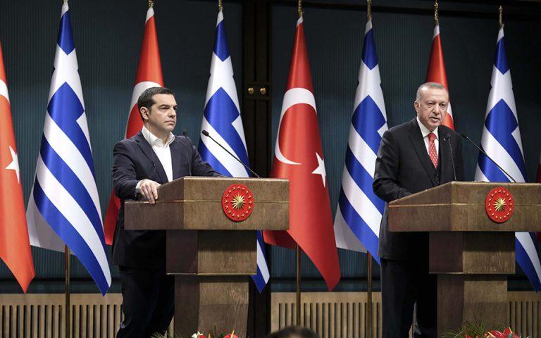 (Ξένη Δημοσίευση)  Ο Πρόεδρος της Τουρκικής Δημοκρατίας, Ρετζέπ Ταγίπ Ερντογάν (Recep Tayyip Erdogan) (Δ) με τον πρωθυπουργό Αλέξη Τσίπρα (Α) κατά τη διάρκεια των δηλώσεων που παραχώρησαν προς τους εκπροσώπους του Τύπου, μετά το τέλος της συνάντησης που είχαν, στο Προεδρικό Μέγαρο, στην Άγκυρα, την Τρίτη 5 Φεβρουαρίου 2019. Ο Αλέξης Τσίπρας πραγματοποιεί διήμερη επίσκεψη στην Τουρκία και είναι ο πρώτος Έλληνας πρωθυπουργός που αύριο θα επισκεφθεί επισήμως τη Θεολογική Σχολή της Χάλκης, ενώ νωρίτερα θα ξεναγηθεί στην Αγία Σοφία. ΑΠΕ-ΜΠΕ/ΓΡΑΦΕΙΟ ΤΥΠΟΥ ΠΡΩΘΥΠΟΥΡΓΟΥ/Andrea Bonetti