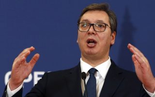 Serbian President Aleksandar Vucic speaks during a news conference after talks with Slovenia's President Borut Pahor at the Serbia Palace in Belgrade, Serbia, Monday, Jan. 28, 2019. Pahor is on a two-day official visit to Serbia. (AP Photo/Darko Vojinovic)