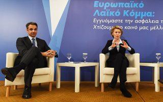 Ο πρόεδρος της Ν.Δ. Κυρ. Μητσοτάκης και η Γερμανίδα υπουργός Αμυνας Ούρσουλα φον ντερ Λάιεν στην εκδήλωση που οργάνωσε το ΕΛΚ μαζί με τη Γραμματεία Διεθνών Σχέσεων της Ν.Δ. και το Ινστιτούτο Κ. Καραμανλής.
