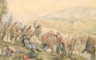 Στη φωτογραφία, το έργο «Η μάχη της Αλαμάνας», του Αλέξανδρου Ησαΐα. Εθνικό Ιστορικό Μουσείο.