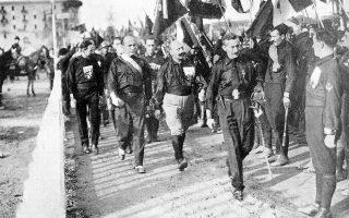 Από αριστερά, οι Ίταλο Μπάλμπο, Μπενίτο Μουσολίνι, Τσέζαρε Μαρία ντε Βέκι και Μικέλε Μπιάνκι, επικεφαλής της Πορείας προς τη Ρώμη (AP Photo).