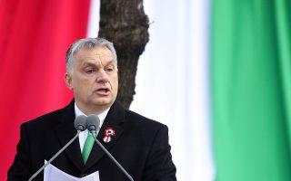 Ο Ούγγρος πρωθυπουργός Βίκτορ Ορμπαν κατά τη διάρκεια ομιλίας του στην εθνική εορτή της χώρας στη Βουδαπέστη, στις 15 Μαρτίου.