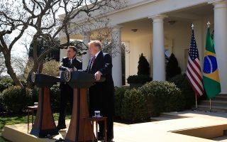 Ντόναλντ Τραμπ και Ζαΐρ Μπολσονάρο στον Λευκό Οίκο.