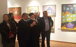 Ο συλλέκτης Ζ. Πορταλάκης με τον Αρχιεπίσκοπο Κρήτης κ. Ειρηναίο και τον περιφερειάρχη Κρήτης, Στ. Αρναουτάκη.
