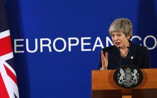 H Bρετανίδα πρωθυπουργός Τερέζα Μέι κατά τη διάρκεια της χθεσινής συνέντευξης Τύπου στις Βρυξέλλες.