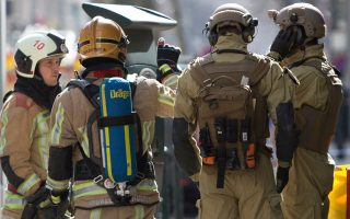 Eκκενώθηκε κτήριο κοντά στα κεντρικά γραφεία της Ευρωπαϊκής Ένωσης μετά από απειλή για βόμβα σε εταιρεία που συνεργάζεται με την Ε.Ε. (AP Photo/Virginia Mayo)