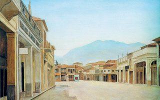 Γιάννης Τσαρούχης, «Η πλατεία 23ης Μαρτίου στην Καλαμάτα», 1966. Από τη συλλογή Alpha Bank.