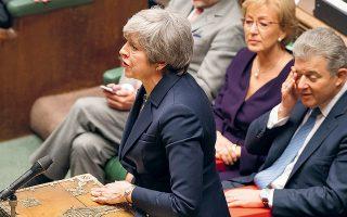 Υστερα από την απόφαση που έλαβε το Κοινοβούλιο την Πέμπτη για αναστολή της εξόδου μέχρι τα τέλη Ιουνίου, η κυβέρνηση της Τερέζα Μέι θα φέρει για τρίτη φορά σχέδιο συμφωνίας προς ψήφιση, στις αρχές της εβδομάδας. A.P. / UK PARLIAMENT / MARK DUFFY