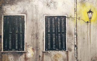 «Παράθυρα». Πίνακας από την έκθεση ζωγραφικής «Φθορά»του Βαγγέλη Παπαδόπουλου στο Μουσείο των Ηρακλειδών. Εως 10 Απριλίου.Ηρακλειδών 16, Θησείο.