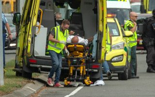 epa07438400 An injured person is loaded in an ambulance following a shooting resulting in multiple fatalies and injuries at the Masjid Al Noor on Deans Avenue in Christchurch, New Zealand, 15 March 2019. According to media reports on 15 March 2019, at least one gunman opened fire at around 1:40 pm local time after walking into the Masjid Al Noor Mosque, killing and wounding several of people. Armed police officers were deployed to the scene, along with emergency service personnel. There are also confirmed reports of a shooting at a second mosque in Christchurch, and both incidents have left at least 40 people dead and more than 20 people seriously wounded. Four people are in custody in connection with the shootings.  EPA/Martin Hunter NEW ZEALAND OUT