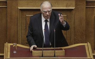 Ο πρόεδρος της Ένωσης Κεντρώων Βασίλης Λεβέντης, μιλάει από το βήμα της ολομέλειας κατά τη διάρκεια της συζήτησης επί των Προγραμματικών Δηλώσεων της Κυβερνήσεως στη Βουλή, Τρίτη 6 Οκτωβρίου 2015. Συνεχίζεται σήμερα και αύριο η ανάγνωση των προγραμματικών δηλώσεων της κυβέρνησης, με τοποθετήσεις υπουργών και βουλευτών, μετά τη χθεσινοβραδινή εναρκτήρια ομιλία του πρωθυπουργού Αλέξη Τσίπρα. Η διαδικασία ολοκληρώνεται τα μεσάνυχτα της Τετάρτης, οπότε η κυβέρνηση λαμβάνει ψήφο εμπιστοσύνης με φανερή ονομαστική ψηφοφορία. ΑΠΕ-ΜΠΕ/ΑΠΕ-ΜΠΕ/ΓΙΑΝΝΗΣ ΚΟΛΕΣΙΔΗΣ
