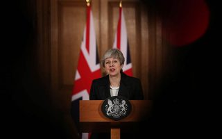 Britain's Prime Minister Theresa May makes a statement about Brexit in Downing Street in London, Britain March 20, 2019. Jonathan Brady/Pool via REUTERS
