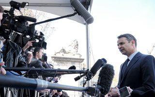 Ο πρόεδρος της Νέας Δημοκρατίας Κυριάκος Μητσοτάκης κάνει δηλώσεις στους δημοσιογράφους κατά την είσοδο του στην συνεδρίαση του Ευρωπαϊκού Λαϊκού Κόμματος, στις Βρυξέλλες, Πέμπτη 21 Μαρτίου 2019. ΑΠΕ-ΜΠΕ/ΓΡΑΦΕΙΟ ΤΥΠΟΥ ΝΔ/ΔΗΜΗΤΡΗΣ ΠΑΠΑΜΗΤΣΟΣ