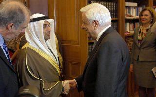 Ο Πρόεδρος της Δημοκρατίας Προκόπης Παυλόπουλος (Δ) υποδέχεται τον υπουργό Οικονομικών του Κουβέιτ Dr. Nayef Falah Al Hajraf (Α) , στη σημερινή τους συνάντηση στο Προεδρικό Μέγαρο, Παρασκευή 15 Μαρτίου 2019. ΑΠΕ-ΜΠΕ/ΑΠΕ-ΜΠΕ/Αλέξανδρος Μπελτές