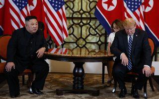 President Donald Trump meets North Korean leader Kim Jong Un, Thursday, Feb. 28, 2019, in Hanoi. (AP Photo/ Evan Vucci)