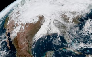 epa07434661 A handout picture made available by the National Oceanic and Atmospheric Administration (NOAA) shows an image acquired by NOAA's GOES East satellite of  winter storm Ulmer becoming a 'bomb cyclone' over central USA, on 13 March 2019. Winter storm Ulmer is bringing high winds, heavy rain and snow to the central US.  EPA/NOAA / HANDOUT  HANDOUT EDITORIAL USE ONLY/NO SALES