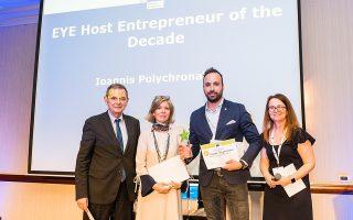 Ο Ρεθυμνιώτης Γιάννης Πολυχρονάκης (δεξιά) ψηφίστηκε ο κορυφαίος επιχειρηματίας υποδοχής στην Ευρώπη κατά τον εορτασμό για τα 10 χρόνια του προγράμματος Erasmus για νέους επιχειρηματίες. Το πρόγραμμα έχει σκοπό να δώσει ώθηση στη δραστηριότητα και στην ανάπτυξη ευρωπαϊκών συνεργασιών και σε αυτό συμμετέχουν νέοι επιχειρηματίες που σχεδιάζουν να ξεκινήσουν τη δική τους επιχείρηση ή την έχουν ήδη ξεκινήσει εντός της τελευταίας τριετίας.