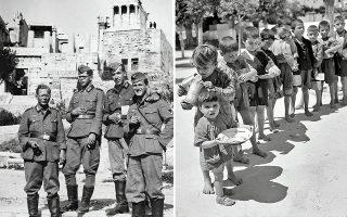 Αναμνηστική φωτογραφία Γερμανών στρατιωτών (αριστερά). Βούλα Παπαϊωάννου, Κέντρο γάλακτος Διεθνούς Ερυθρού Σταυρού, 1942-1943 (δεξιά).