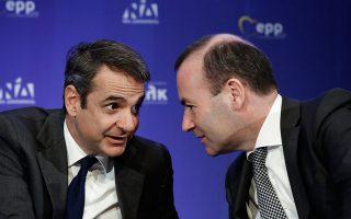 Η επιλογή της Αθήνας από τον κ. Βέμπερ, για την έναρξη της τελικής φάσης της καμπάνιας του για την προεδρία της Κομισιόν, είναι συμβολική της ταύτισης της ατζέντας του ΕΛΚ με τη Ν.Δ. σε θέματα όπως η ενίσχυση της μεσαίας τάξης και η δημιουργία θέσεων εργασίας (στη φωτ. με τον κ. Μητσοτάκη).