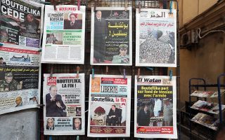 epa07482355 Local newspapers on display a day after Algeria's President Abdelaziz Bouteflika submitted his resignation, in Algiers, Algeria, 03 April 2019. According to official media reports late 02 April 2019, Bouteflika has announced his resignation, after weeks of popular mobilization against his rule and his intention to run for a fifth term in the upcoming presidential elections. Mr. Bouteflika withdrew from running for a new term but canceled Algeria's presidential election, which had been set for April 18.  EPA/MOHAMED MESSARA