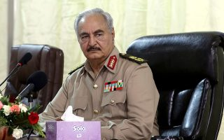 FILE PHOTO: Libya's eastern-based commander Khalifa Haftar attends General Security conference, in Benghazi, Libya, October 14, 2017. REUTERS/Esam Omran Al-Fetori/File Photo