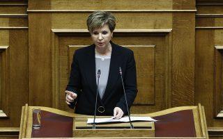 Η υπουργός  Προστασίας του Πολίτη Όλγα Γεροβασίλη μιλάει στη συζήτηση στην Ολομέλεια της Βουλής για παροχή ψήφου εμπιστοσύνης προς την κυβέρνηση, την  Τετάρτη 16 Ιανουαρίου 2019. Η συζήτηση θα ολοκληρωθεί τα μισάνοιχτα με ονομαστική ψηφοφορία. ΑΠΕ-ΜΠΕ/ΑΠΕ-ΜΠΕ/ΓΙΑΝΝΗΣ ΚΟΛΕΣΙΔΗΣ