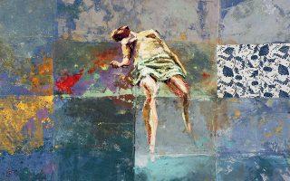 «Επιφάνεια», πίνακας του Νίκου Κόνιαρη από την έκθεση «Το ατελιέ», στην οποία έργα παρουσιάζει και η Εμιλία Ξανθοπούλου. Πινακοθήκη Γιώργου Ν. Βογιατζόγλου. Εγκαίνια: Δευτέρα 15 Απριλίου, 8 μ.μ. Ελ. Βενιζέλου 63, Ν. Ιωνία.
