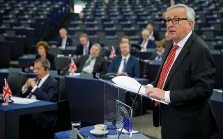 European Commission President Jean-Claude Juncker delivers a speech during a debate on the outcome of the latest European Summit on Brexit, at the European Parliament in Strasbourg, France, April 16, 2019. REUTERS/Vincent Kessler