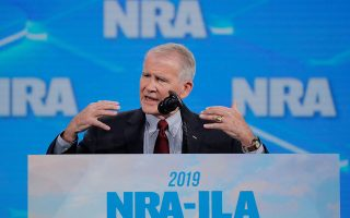 NRA President Lt Col Oliver North addresses the 148th National Rifle Association (NRA) annual meeting in Indianapolis, Indiana, U.S., April 26, 2019.  REUTERS/Lucas Jackson