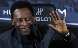 epa07482492 (FILE) - Brazilian former soccer player Pele attends a press conference at a commercial event in Paris, France, 02 April 2019 (released 03 April 2019).  According to media reports on 03 April, Pele was hospitalized in Paris in the evening of 02 April after meeting with French soccer player Kylian Mbappe at the commercial event.  EPA/IAN LANGSDON