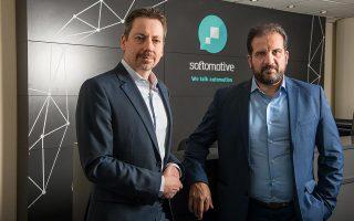 Ο Μάριος Σταυρόπουλος και ο Αργύρης Κανινής φιλοδοξούν να κάνουν τη Softomotive μια εταιρεία όπου θα χαίρεται να εργάζεται κανείς. (Φωτογραφία: Άγγελος Γιωτόπουλος)