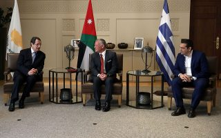 Jordan's King Abdullah meets with Cypriot President Nicos Anastasiades and Greek Prime Minister Alexis Tsipras during a trilateral summit to expand cooperation in the East Mediterranean region, in Amman, Jordan April 14, 2019. REUTERS/Muhammad Hamed