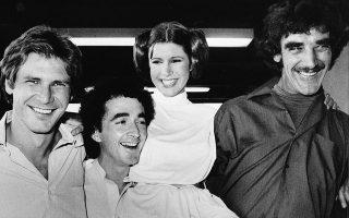 Οι Χάρισον Φορντ, Αντονι Ντάνιελς, Κάρι Φίσερ και Πίτερ Μέιχιου σε διάλειμμα γυρισμάτων. (AP Photo, File)