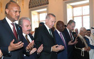 Στα εγκαίνια ισλαμικού τεμένους στην Κωνσταντινούπολη παρευρέθη χθες ο Τούρκος πρόεδρος Ερντογάν.