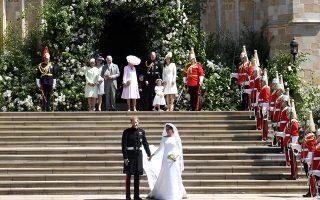 Ο πρίγκιπας Χάρι και η δούκισσα του Σάσεξ, Μέγκαν Μαρκλ, την ημέρα του γάμου τους, στις 19 Μαΐου 2018.
