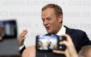 epa07558683 European Council President Donald Tusk gives a press briefing at the end of an Informal Summit of Heads of State or Government of the EU countries in Sibiu, Romania, 09 May 2019. EU leaders are expected to discuss the union's strategic agenda for the 2019-2024 period as well as exchanging views on EU challenges and priorities for the years to come.  EPA/OLIVIER HOSLET