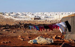 Στρατόπεδο προσφύγων κοντά στο χωριό Ατίμα της επαρχίας Ιντλίμπ, τελευταίου μεγάλου θυλάκου των αντικαθεστωτικών στη Συρία.