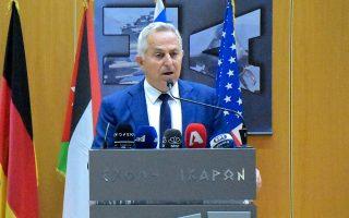 Ο υπουργός Εθνικής Αμυνας Ευάγγελος Αποστολάκης, κατά τη χθεσινή ομιλία του στο 7ο Συνέδριο Αεροπορικής Ισχύος, στη Σχολή Ικάρων.
