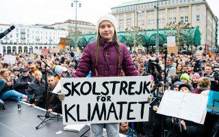 Η Γκρέτα Τούνμπεργκ τον Μάρτιο στο Αμβούργο. Η ανησυχία για το περιβάλλον χαλάει τη «σούπα» της AfD.