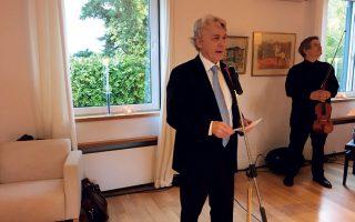 O Nορβηγός πρέσβης Γιορν Γέλστα στον λόγο που εκφώνησε με αφορμή την εθνική επέτειο.