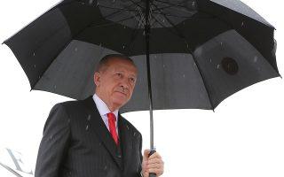 Ο Τούρκος πρόεδρος Ταγίπ Ερντογάν προσέρχεται στη Σαμψούντα της Μαύρης Θάλασσας.