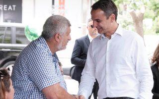 Ο πρόεδρος της Ν.Δ. Κυριάκος Μητσοτάκης πραγματοποίησε βόλτα χθες στη Γλυφάδα και συνομίλησε με κατοίκους και καταστηματάρχες.