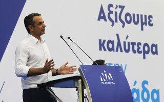 Ο πρόεδρος της ΝΔ Κυριάκος Μητσοτάκης, μιλάει στην προεκλογική συγκέντρωση του κόμματος ενόψει των ευρωεκλογών και αυτοδιοικητικών εκλογών στο κλειστό γυμναστήριο του Περιστερίου, Τετάρτη 22 Μαΐου 2019. ΑΠΕ-ΜΠΕ/ΑΠΕ-ΜΠΕ/ΑΛΕΞΑΝΔΡΟΣ ΒΛΑΧΟΣ