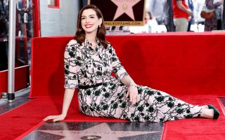 Anne Hathaway poses as she is honored with a star on the Hollywood Walk of Fame in Los Angeles, California, U.S., May 9, 2019. REUTERS/Mario Anzuoni
