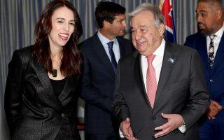 O γ.γ. του ΟΗΕ Αντόνιο Γκουτέρες με την πρωθυπουργό της Νέας Ζηλανδίας Τζασίντα Άρντερν. (Hannah Peters/Pool Photo via AP)