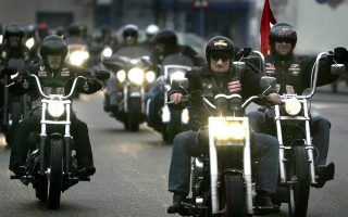 epa07610060 (FILE) - Members of the motocycle club 'Hells Angels' arrive at the courtroom called 'the bunker' in Amsterdam, The Netherlands, 20 February 2007 (reissued 29 May 2019). A court in the Dutch city of Utrecht on 29 May 2019 has banned the Hells Angels motorcycle club because of its culture of violence.  EPA/PIETER FRANKEN